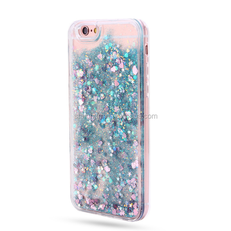 Best quality cell phone moving heart glitter liquid phone case for samsung galaxy s7