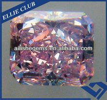 original china pink flower cutting chamfering rectangle shape cubic zirconia gemstones