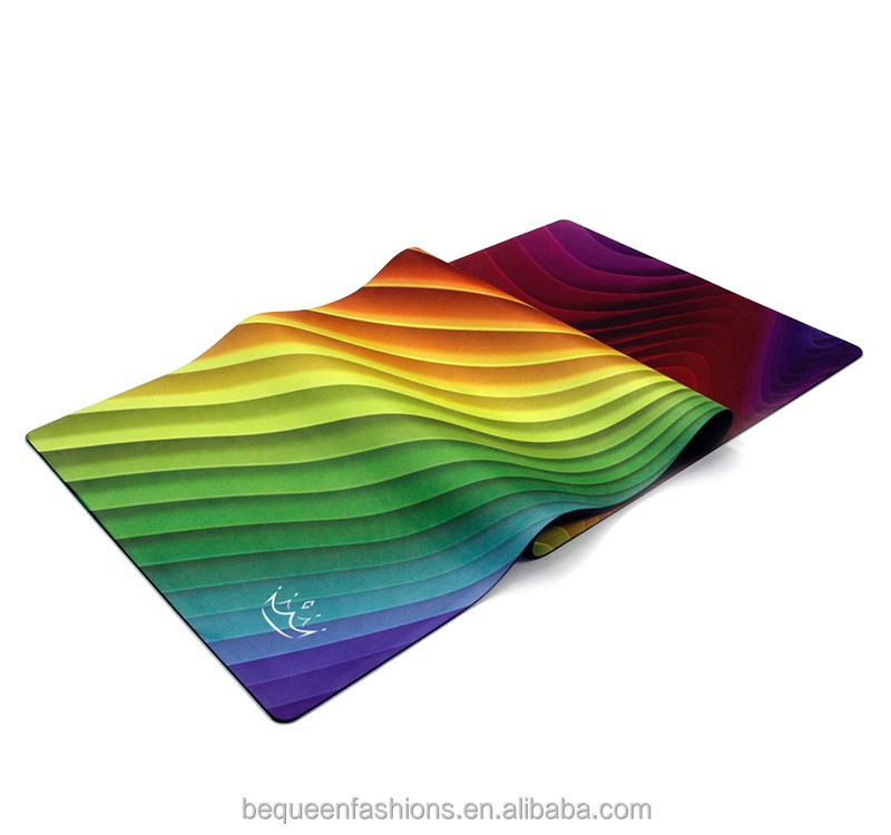 Pro custom private label sublimation digital printed natural rubber machine washable fitness eco mat