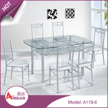 Home furniture practical and economical clear glass top kitchen table and chairs
