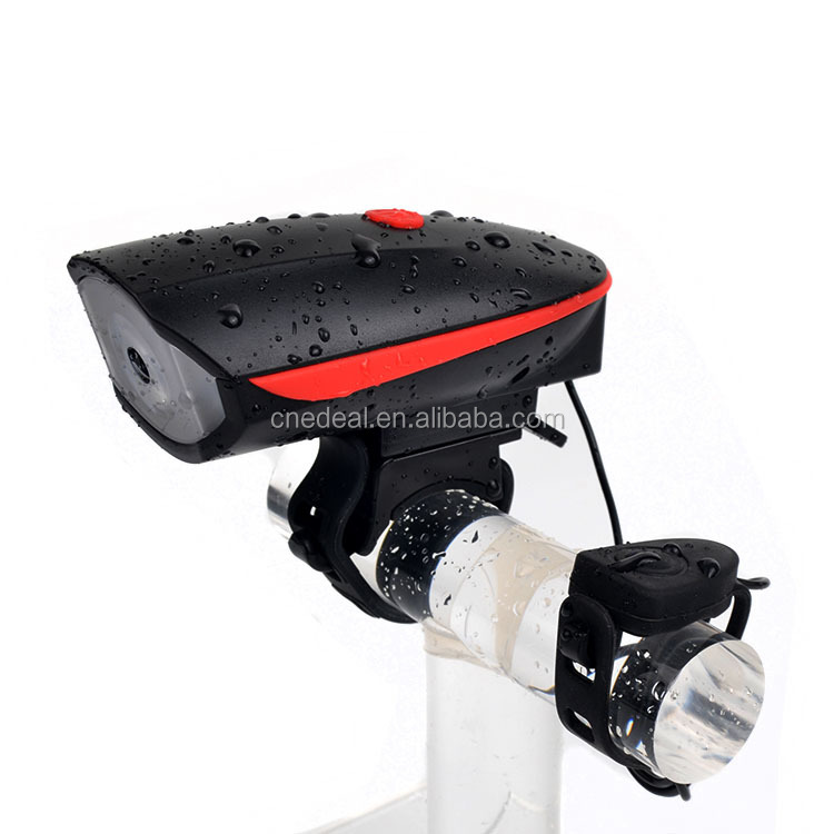 Jialitte B034 Waterproof Rechargeable USB Bicycle Headlight Siren Speaker LED Front Light Bike 140db Bicycle Electric Bell