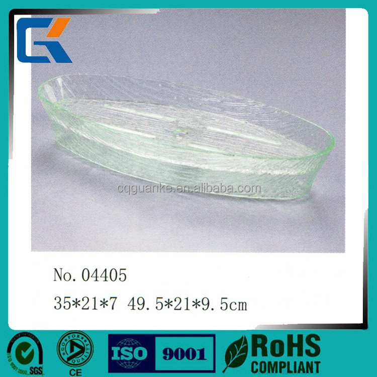Made in China oval transparent acrylic sashimi bowl with stop water sheet