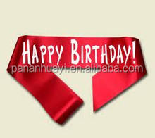 2015 Cheap Hot Sale Free Sample Wholesale Red Happy Birthday Party Sash Happy Birthday