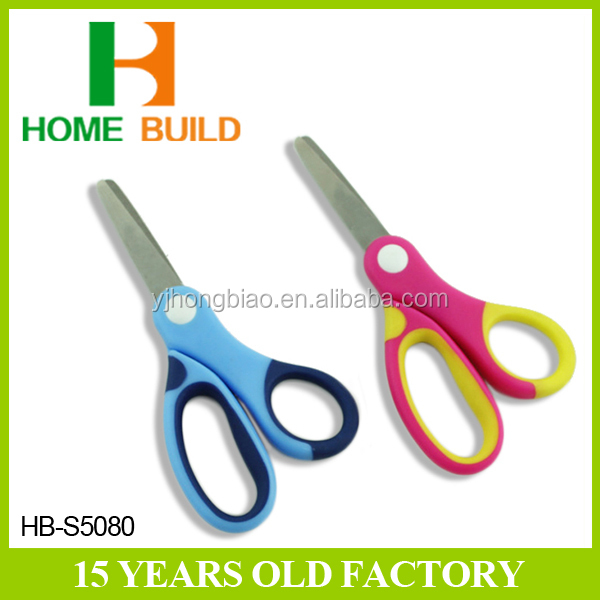 "Factory price HB-S5080 5"" big satin polished blades PP TPR handle children scissors"