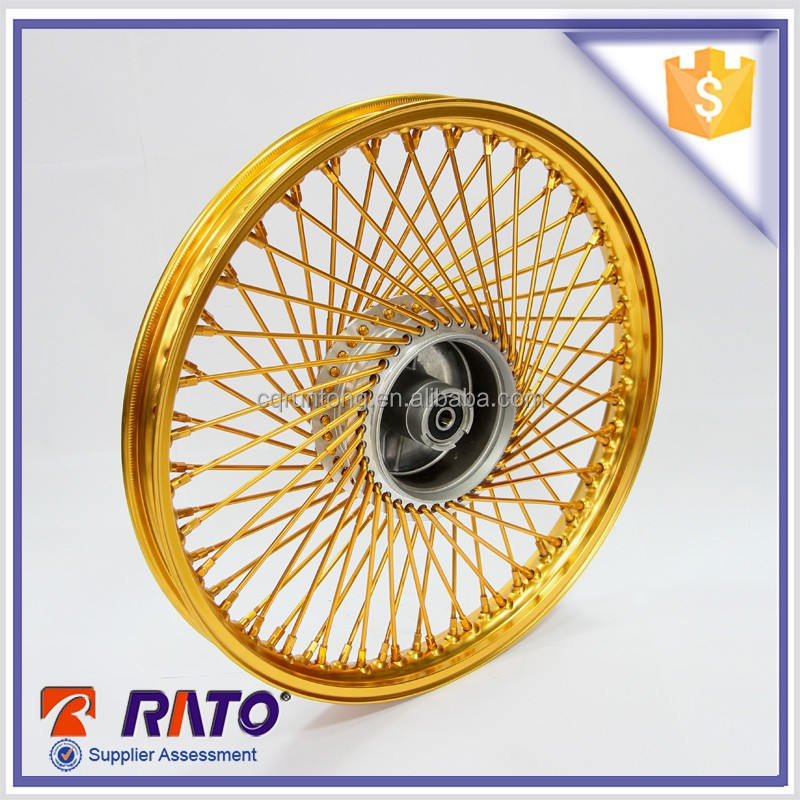 Excellent 1.4-17 size golden aluminum alloy front drum brake wheel for moto