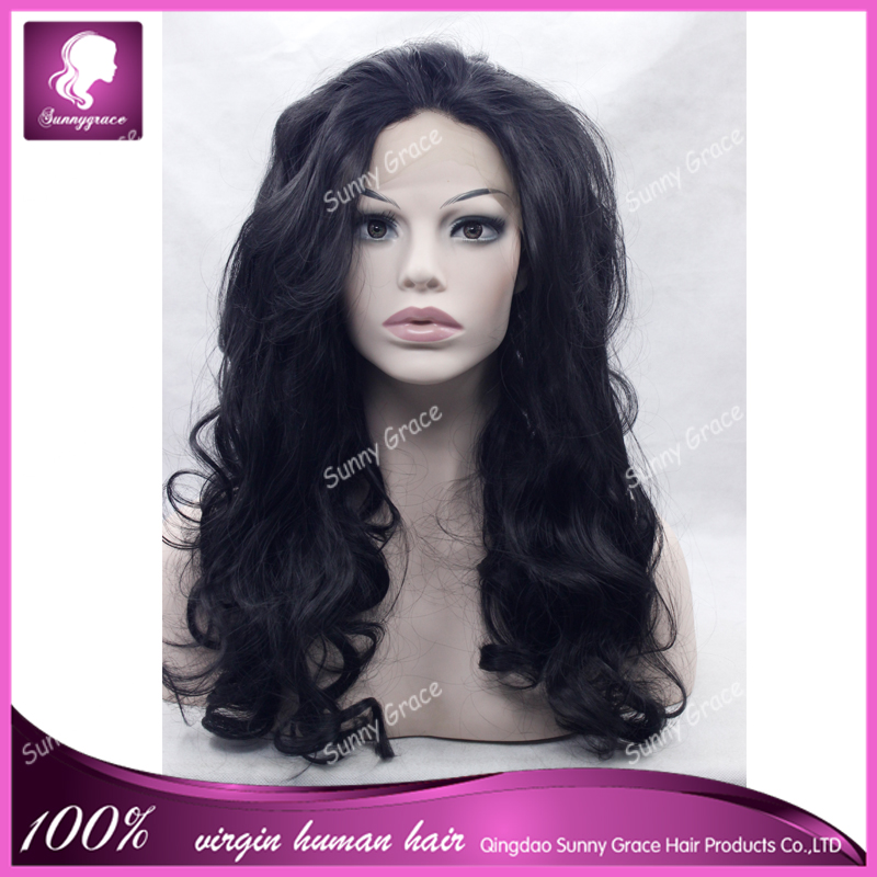 Celebrity African American Black Women Lace Front Wig Sunny Grace High Quality Elegant Long Wavy Synthetic Black Lace Wig