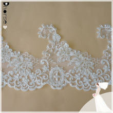 2016 New 23cm width Off-White Polyester Corded Lace Trim/Embroidered Venise Lace Trim/Bridal Net Lace Trim-DHBL 1728
