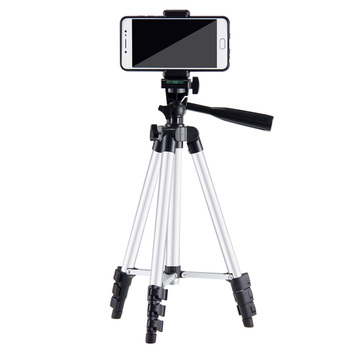 110cm 4 sections Aluminium camera phone tripod with pouch and cell phone attachment for mobile phone