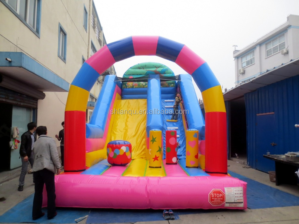 lovely Candy Color Inflatable Outdoor Sports Slide with climbing ladder for sale