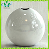 New Ceramic White glazed embossed Wholesale Pottery Vase