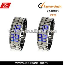 Silver Digital Lava Wrist Watch Metal Blue LED Metal Men's watches