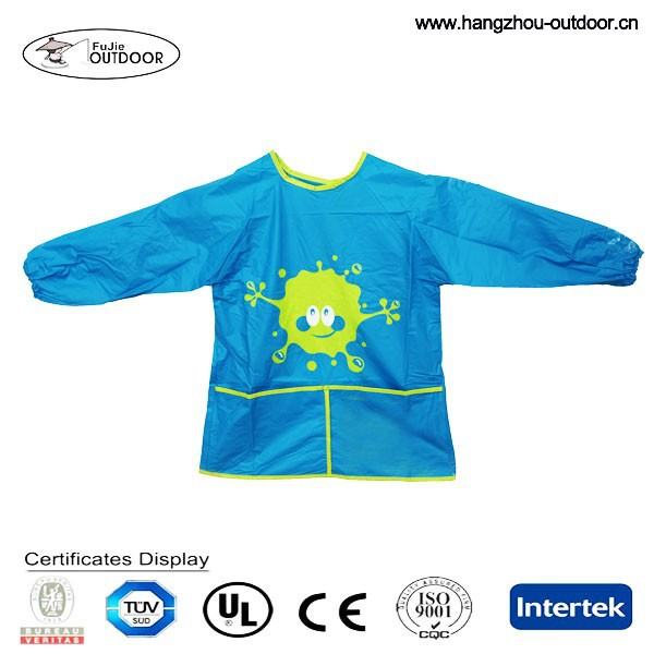 2015 Cheap Fashionable OEM Waterproof PVC Kids Apron with sleeves
