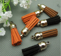 Mini Fashion Suede Leather Tassel With Metal Caps Wholesale