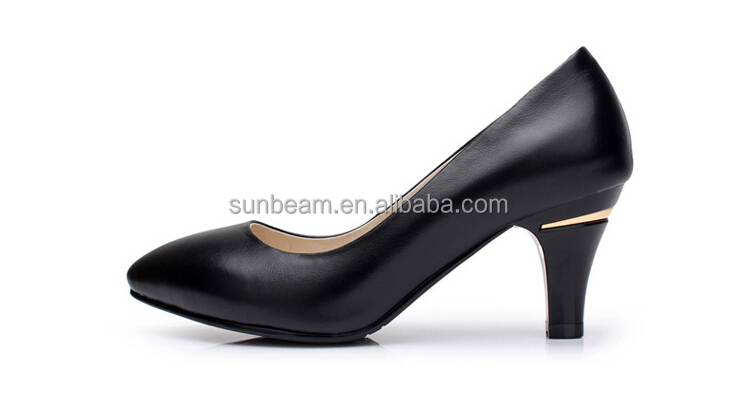 Fashion new model design cow leather office pumps shoes for ladies