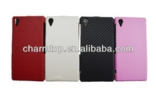 Unique design Carbon Fiber Leather Flip Case for Sony Xperia Z1 L39h
