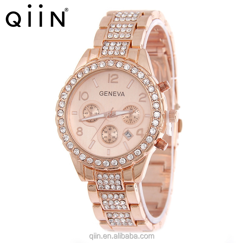 QE0108 Fashion diamond decoration alloy geneva <strong>watches</strong> for Ladies