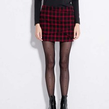 W11012 new arrival OL european elegant knee-skirt red plaid sexy skirt