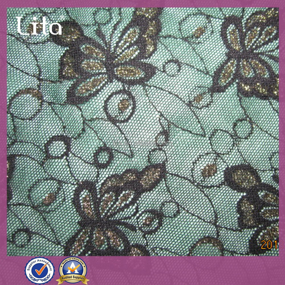 jacquard butterfly desgin for lady dress purfle lace