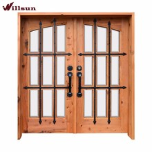 9-lite wood & iron door design for houses China manufacturer