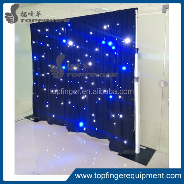 Topfinger factory 2016 Cheap pipe and drape with wedding led star curtain with white and blue color