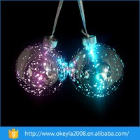 Hanging light up Christmas decoration electroplate glass ball