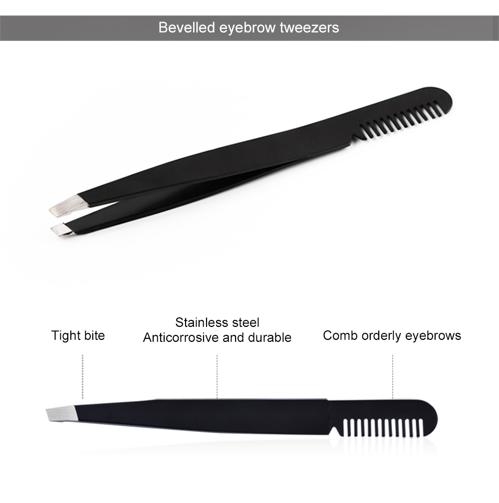 Yangjiang Steel Promotional Fashion Comb Black Eyebrow Tweezers