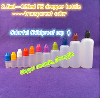 Hot sale!!! 5ml 10ml 15ml 20ml 30ml 50ml 60ml 100ml 120ml PE plastic e-liquid e-cig dropper bottle with child resistant cap