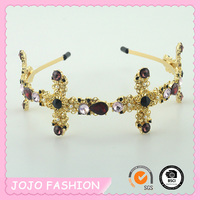 Wholesale baroque Styles Fashion Metal pearl rhinestone crown headband for the girls for wedding