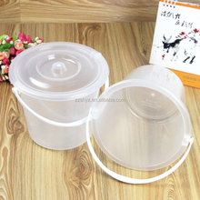 Factory price 1.5L ,3L ,5L clear transparent plastic bucket with lid