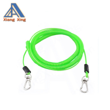 Customized Tool Strap Plastic Spiral Coiled Lanyard Lobster Clip Key Ring Chain