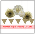 5PC Gold Series Tissue Paper Fans Triangle Banner Ivory Honeycomb Ball 5PC