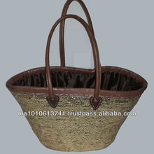 Handcrafted Moroccan gold wicker basket