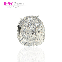 Clear Crystal Glass Stones Paved Owl 4.4mm Hole Diameter Sterling Silver Charms