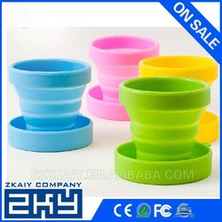 Healthy Portable Travel Folding Silicone Cups colorful disposable travel cup silicone drinking cup
