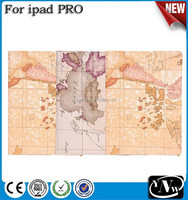 Top Selling Durable Beautiful World Map PU Leather Tablet case For iPad pro lowest price