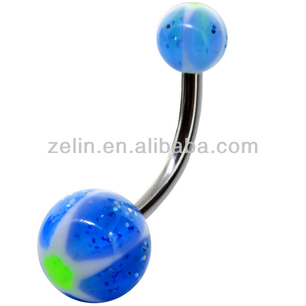 2015 New E01089 heat transfer printing navel belly rings body piercing jewelry