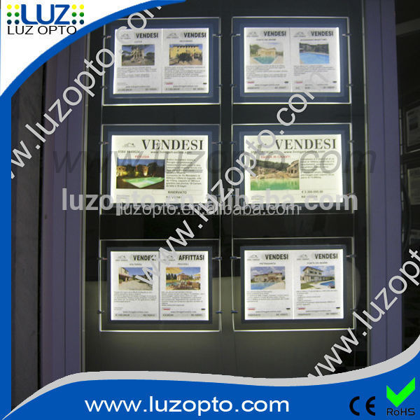 Single side or double side Crystal Light LED Panel, A0 A1 A2 A3 A4 led window display,real estate agent pocket light box