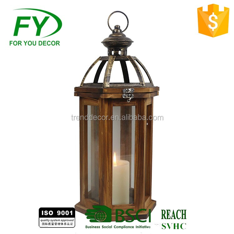 Home decorative antique classical house shape wooden candle lantern