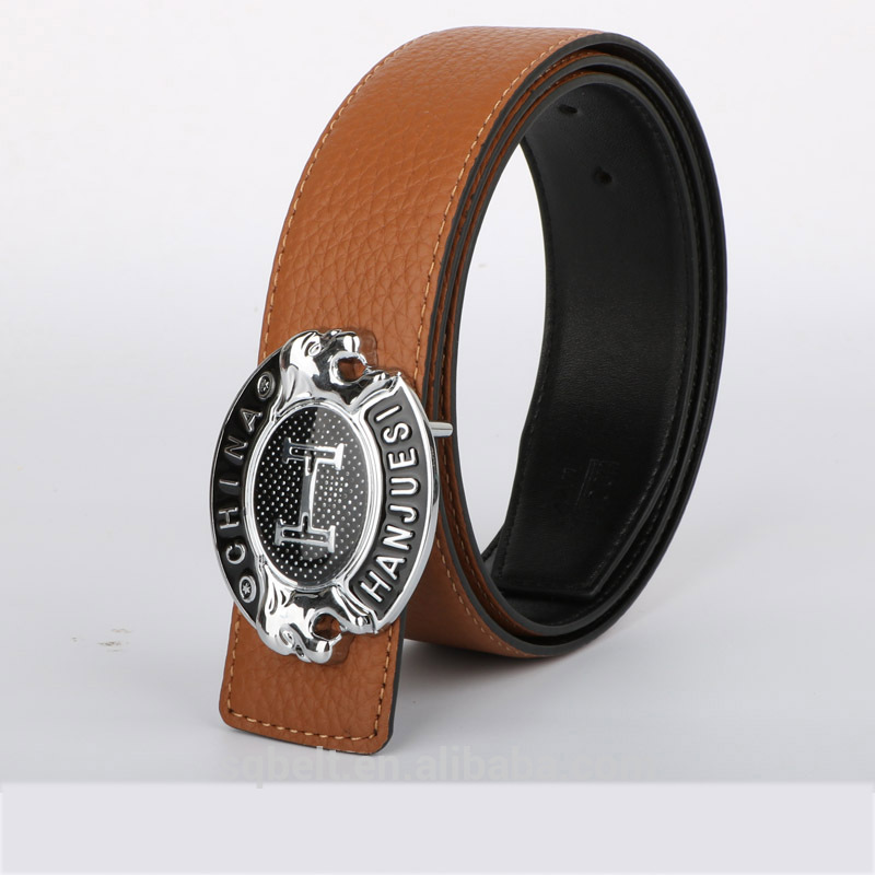 wholesale men's best classic brown cowhide leather <strong>belts</strong> with silver buckle