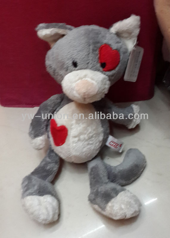 stuffed soft plush lovely red heat grey cat