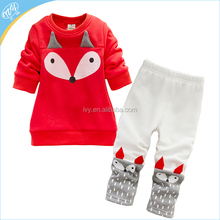 Fox 3d Kids Fashion Winter Clothes Cotton Interloop Boys Girls Longsleeve Tops + Pants Set Baby Outfits