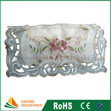 100% polyester lace flower embroidery elegant decorative tissue box cover