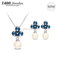 Beautiful design! T400 Necklace/Earring Jewelry Sets made with Swarovski Elements artificial pearl 925 sterling silver #S011