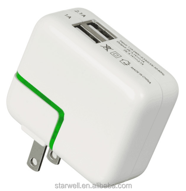 5V 2.1A MAX dual port USB charger