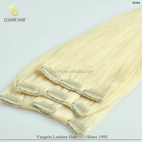 2014 Factory Cheap Price High Quality Double Drawn ash blonde virgin hair clip in extensions