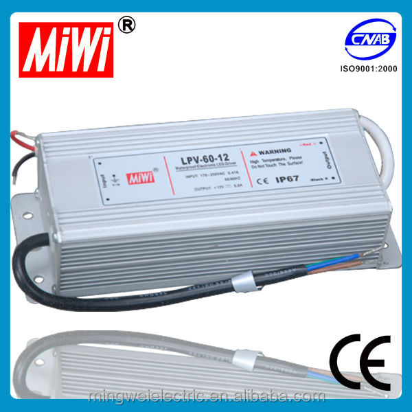 IP67 constant current 60W Aluminium case waterproof led power supply