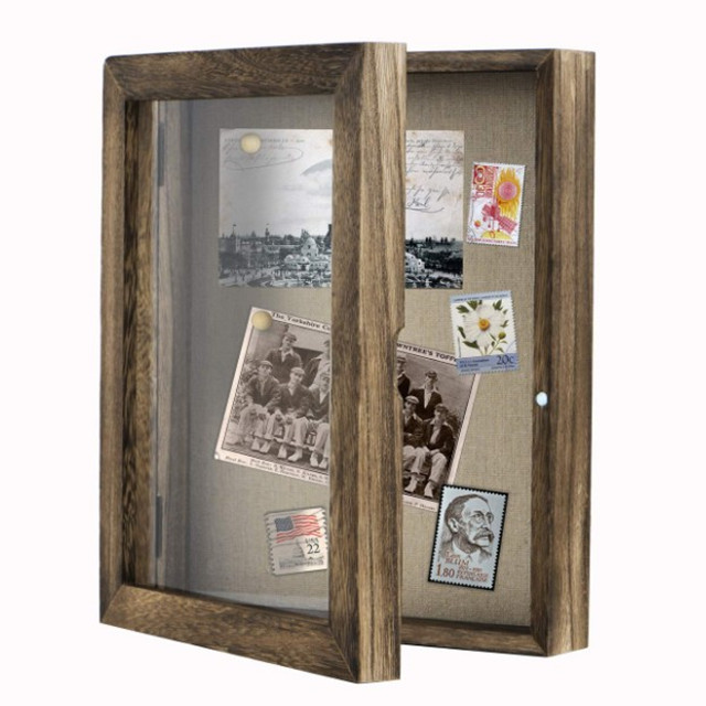 New design wooden Shadow Box Display Case 8&quot;<strong>x10</strong>&quot; Photo Frame with Linen Back