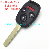 N5f-S0084A 3+1 button remote key 313.8mhz with id46 for honda civic
