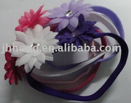 1CM nylon headbands with gem center daisy flower,hair bands,soft material headbands