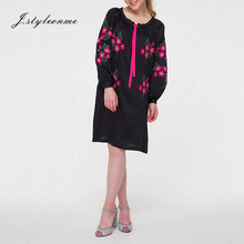 Women's Popular Style Long Sleeve Black Embroidered Tunic Dress